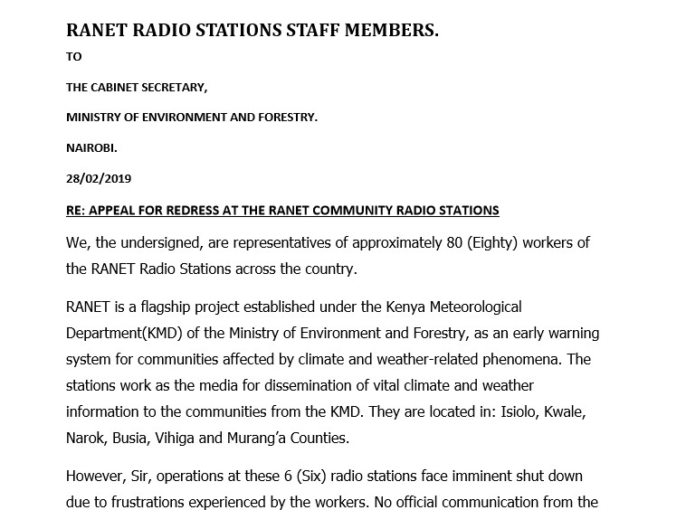 Redress call for Ranet Community Radio stations.